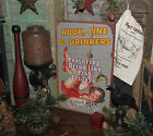 Primitive Antique Vtg Style GIRL Hook Line Drinkers FISHING Tin Sign Gift Idea