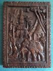 Vtg Laos Hand Carved Wood Wall Hanging Plaque Elephant Buddha Rare