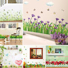 3D Creative Wall Stickers Corner Line Flower Baseboard Green Grass Butterfly PVC