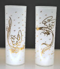 RARE-HTF FRED PRESS WHITE / GOLD GILT COCKFIGHTING COLLINS GLASSES (SET OF 2)