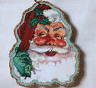 Glittered Wooden Christmas Ornament Santa Claus 2 Handmade Vintage Card Image
