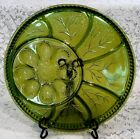 Beautiful Large Vintage Deviled Egg and Appetizer Platter Green Indiana Glass