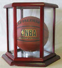 Basketball Display Case Stand, Hexagon Shape (Solid Wood): BB03-CHE