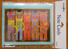 8 Leanin Tree Note Cards 5 VERY BRIGHT COLORFUL CATS IN A ROW Laurel Burch US