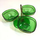 Vintage VERECO Emerald Green Glass Condiment Bowls with Metal Serving Tray