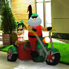 6ft Inflatable Santa Claus Riding Motorcycle Christmas Airblown Yard Decorations