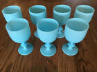 Portieux Vallerysthal Blue Opaline Glass Water Goblets 6 1 2 set of 7 french PV