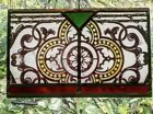 Architectural Salvage Leaded Stained Glass-1870, Painted Glass, Gold, Red, Green