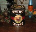Primitive Vtg Style Farmhouse Rooster Chicken Steel Cut Coffee Metal Can Tin