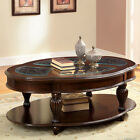 Dark Cherry And Glass Top Oval Cocktail Coffee Table Round Solid Wood Antique