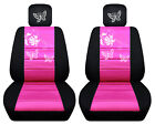 Vw Beetle Front Car Seat Covers Blackhot Pink Wdaisyladybugbutterfly...