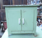 Small Vintage French Metallic kid's bedroom Cabinet Green porcelain handles 50s