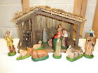 Vintage Sears Nativity Set 11 Hand Painted Ceramic Figures  Stable 97623