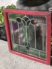 Vintage Old Beautiful Leaded Stained Glass Window  Great Color And Design
