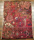 VINTAGE COLLECTIBLE PERSIAN WOOL HAND KNOTTED HERIZ 2.11X3.8FT RUG V6