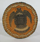 VTG Native American Indian Hand Woven Hopi Wicker Basket Bird Tray Plaque #3 yqz