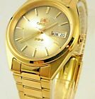 Genuine  Orient  Men's 3 Star  Gold Tone Brown Dial Automatic Watch  ORIENT BOX