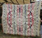 Antique Jacquard Wool Woven American 3 Color Coverlet mid1800's  Ohio? Signed NB