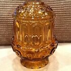 Pedestal Moon and Star Amber Fairy Lamp L E Smith 6in Tall Amber Vintage