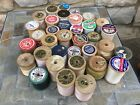 VINTAGE WOODEN SPOOLS THREAD LOT OF 35 CLARKS AND MORE