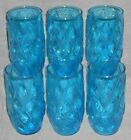 MID CENTURY Set (6) Anchor Hocking MADRID BLUE PATTERN 13 oz Glass Tumblers