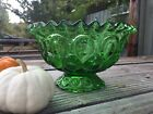 LE Smith Large Green Moon and Stars Glass Footed Bowl w/ Ruffle Edge- Gorgeous!