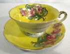 Vintage Jyoto China Occupied Japan Floral on Yellow Gold Trim Cup