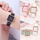 Woman's Square Stylish Leather Watch Cartoon Butterfly Dial Quartz Watch CA