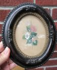 Antique VICTORIAN Small Miniature Brown OVAL FRAME Flower Painting c1860s