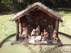 Christmas Nativity Stable Creche Huge 17 X 13 Vintage 1940s Made In Italy