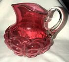 Antique Cranberry Glass Pitcher with Butterfly Pattern Clear Handle
