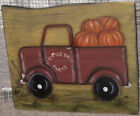 *~*PRIMITIVE*~* HP FOLK ART PRIM RED TRUCK * PUMPKINS * FALL *~* RECLAIMED WOOD