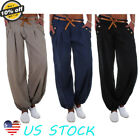 Women Casual Jogger Harem Pants Baggy Slacks Leather Belt Trousers Sweatpants US