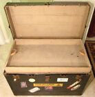 ANTIQUE STEAMER TRUNK VINTAGE VICTORIAN FLAT TOP WOODEN TRAVEL CHEST TRAY