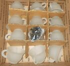 12 Vintage SATIN Frosted GLASS PUNCH BOWL CUPS Grape Leaf Design Indiana ^