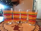 Vintage Libbey Mambo Fiesta Striped 14oz Tumblers Set of 4 Glasses Unused Cond