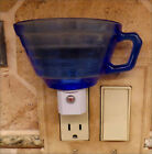 Hazel Atlas Moderntone COBALT BLUE Custom  Tea Cup Night Light With Sensor