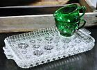 Anchor Hocking Glass/Clear/Colonial Lady/Snack Set/Lunch Tray/Forest Green Cup/2