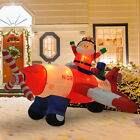8L Christmas Inflatable Santa Flying A Plane Airblown Animated Yard Decorations