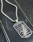 Mens Silver Steel Native Aztec Ethnic Feather ID Dog Tag Necklace Christmas Gift