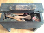 Early Vintage Shoe Shine Box Loaded With Brushes and Tins - OLD OLD OLD