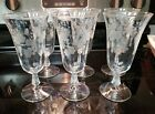 GORGEOUS Set 6 Vintage Etched Flower Leaves Twist Stem Iced Tea Water Goblet