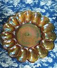 Vintage Indiana Glass Hobnail Amber Carnival Deviled Egg Plate Edged