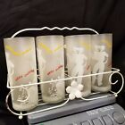 GREAT Retro Set of 8 LIBBEY Tom Collins Bar ware Frosted Glasses