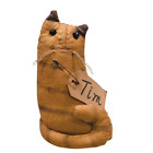 Primitive TIM CAT DOLL Country Fabric Cloth Folk Art Farmhouse Collectible