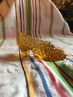 Miniature Glass Shoe Perfume Bottle Holder Amber France
