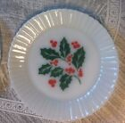 Holly Berry Christmas Plate Termocrisa Mexico Tempered White Glass FREE SHIP EXC