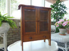 VINTAGE ANTIQUE CHILD'S MINIATURE WOODEN CHINA CABINET- GLASS PANE DOORS-1920