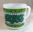 Vintage Federal Milk Glass Coffee Mug Cup Arby's Advertising Green Stained Glass