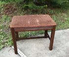 Vintage Wood Upholstered Vanity Piano Sewing Seat Bench Vintage Red Fabric